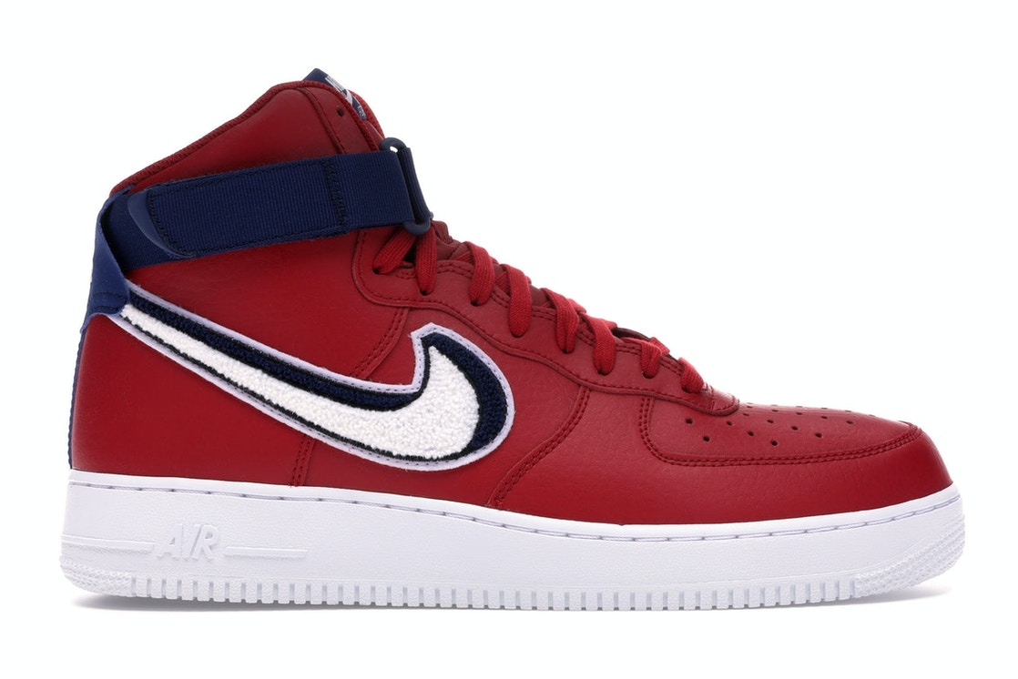 Nike Air Force 1 High 3d Chenille Swoosh Red White Blue 806403 603