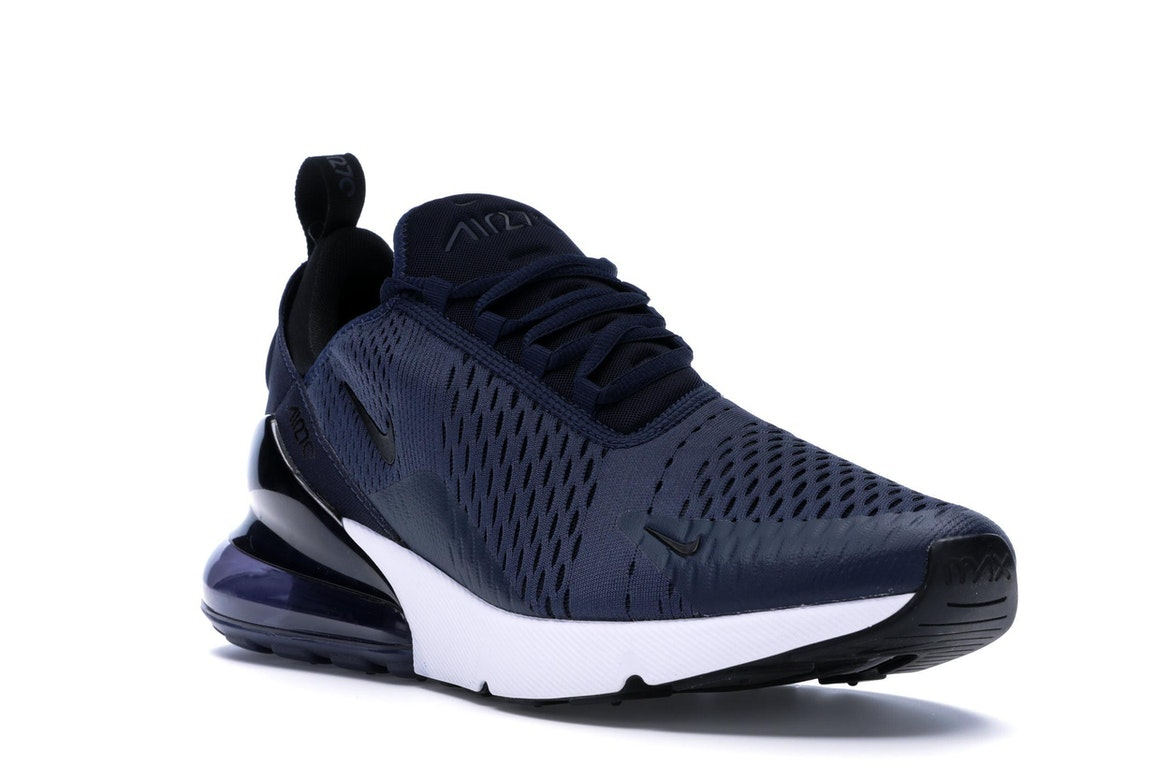 navy blue and white air max 270