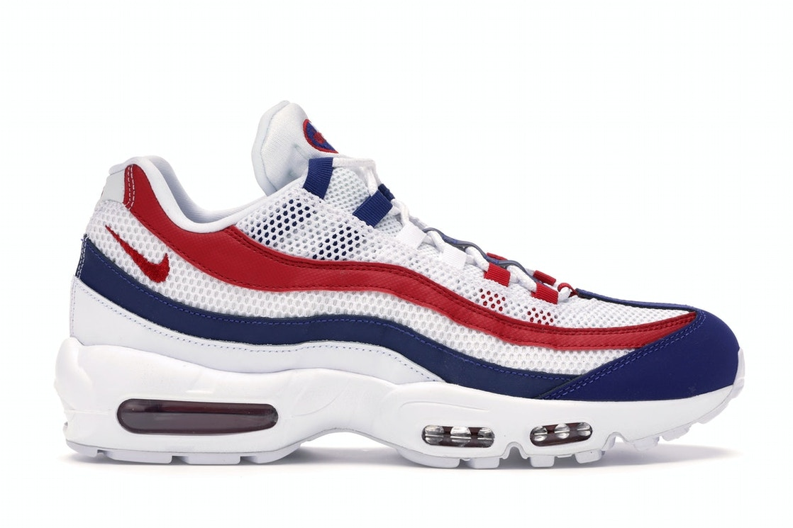 Nike Air Max 95 White Deep Royal Blue Gym Red Cj9926 100
