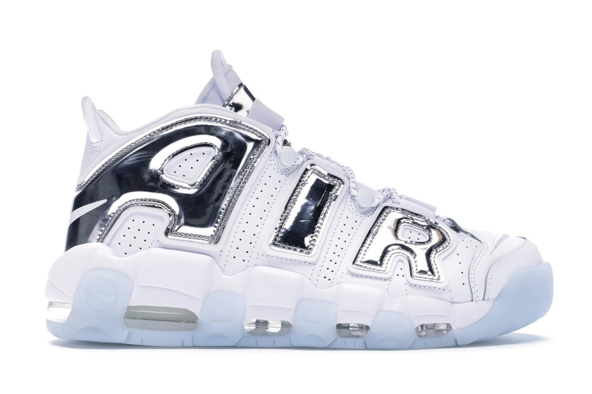 nike air more uptempo white silver