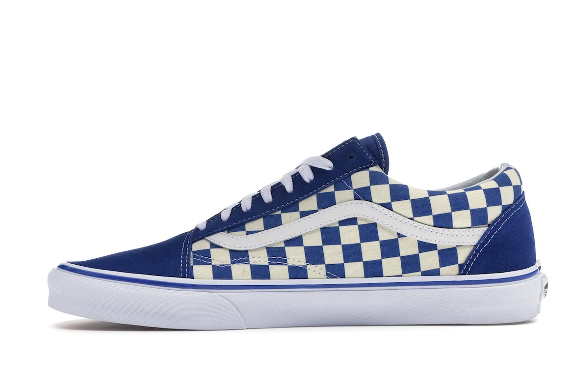 blue and white checkered vans