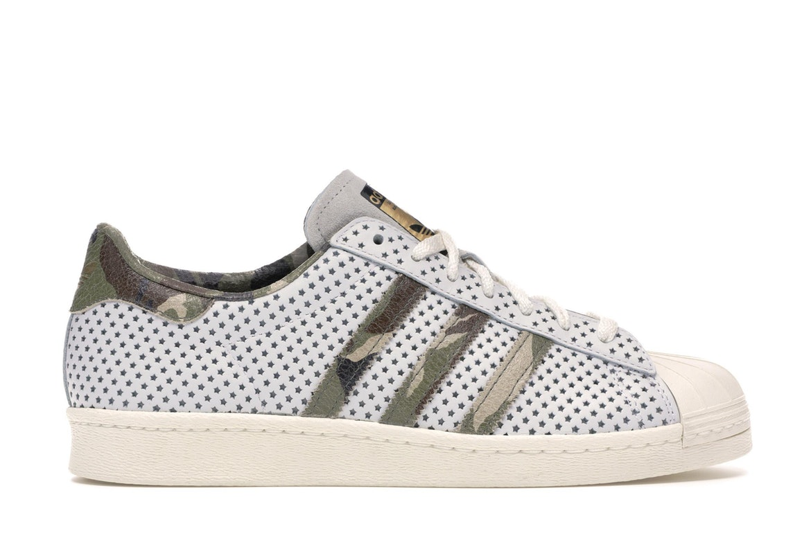 ADIDAS SUPERSTAR 80S Quickstrike Camo Green white 9.5 Ultra Boost Gold