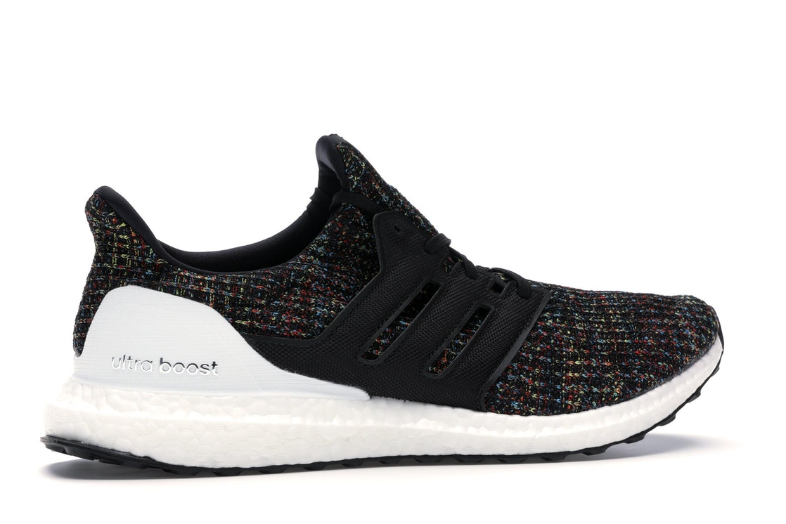 differently ca1f1 91710 adidas Ultra Boost 4.0 Black Multi-Color White Heel Cage