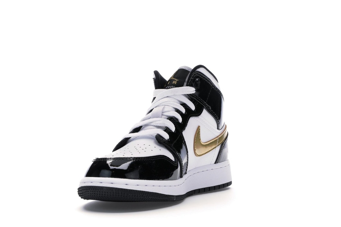 best website d76a7 1e73d Jordan 1 Mid Patent Black White Gold (GS) - BQ6931-007