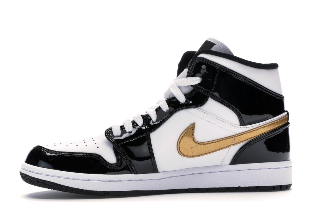 low priced c2941 a79d1 Jordan 1 Mid Patent Black White Gold