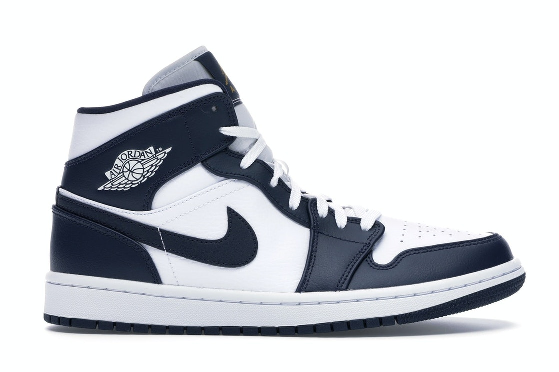 50% price detailed images official store Jordan 1 Mid White Metallic Gold Obsidian
