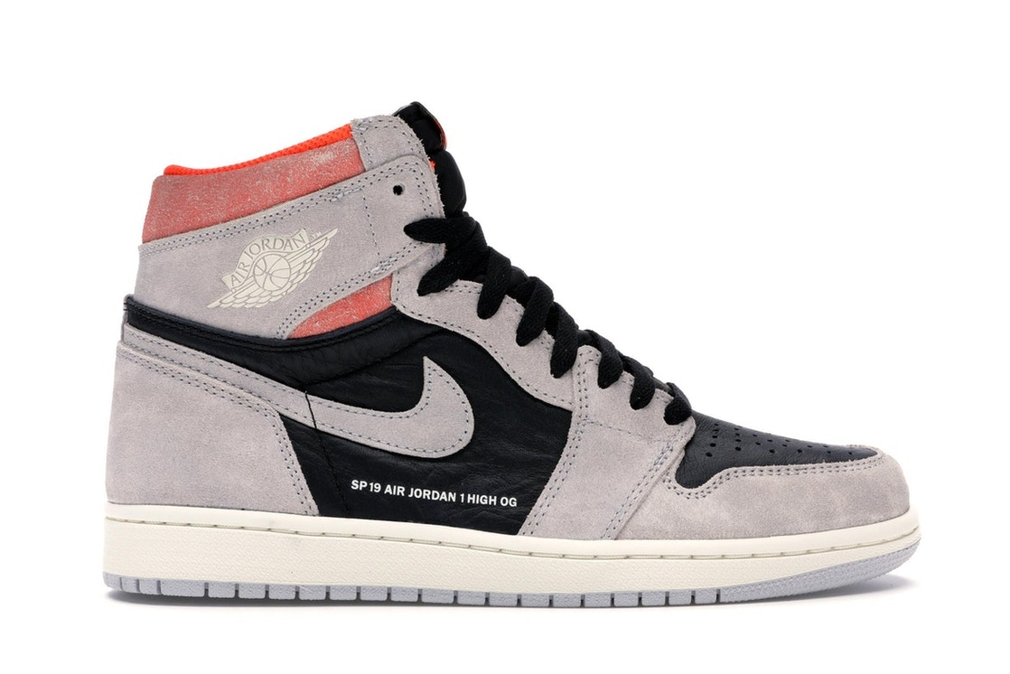 a483bace661f Jordan 1 Retro High Neutral Grey Hyper Crimson - 555088-018
