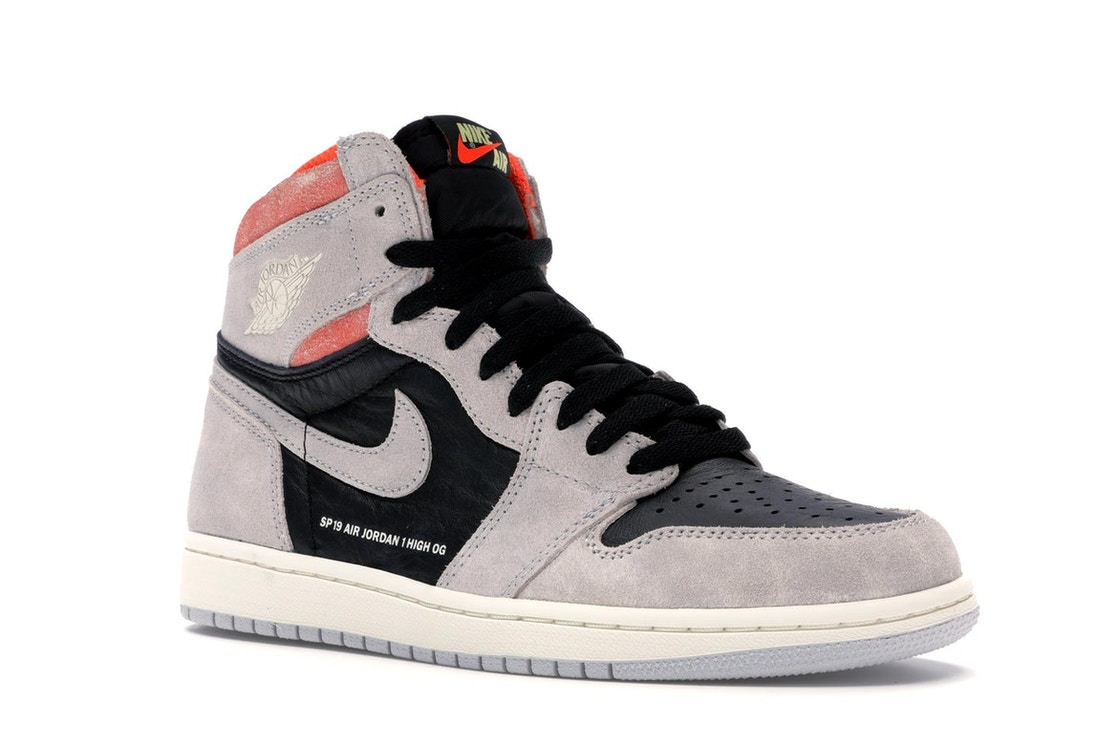 4f0d7ad1e1b Jordan 1 Retro High Neutral Grey Hyper Crimson - 555088-018