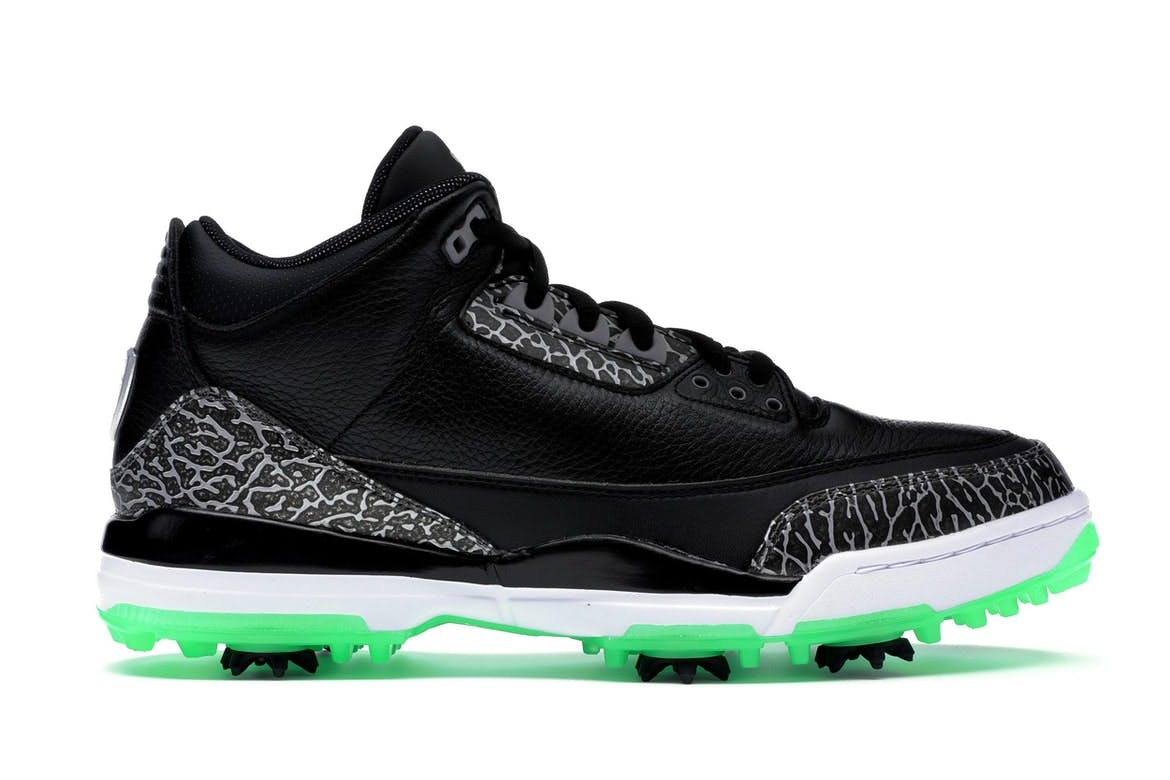 Jordan 3 Retro Golf Black Green Glow