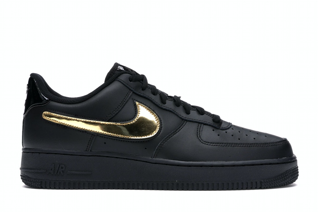 Air Force 1 Black Metallic Gold Removable Swoosh Pack by Stock X