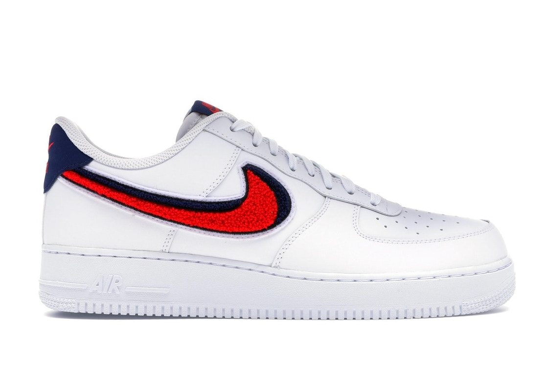 Air Force 1 Low 3D Chenille Swoosh White Red Blue