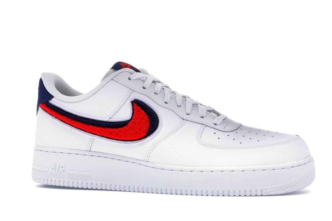new arrival 6b054 56c0d Air Force 1 Low 3D Chenille Swoosh White Red Blue - 823511-106