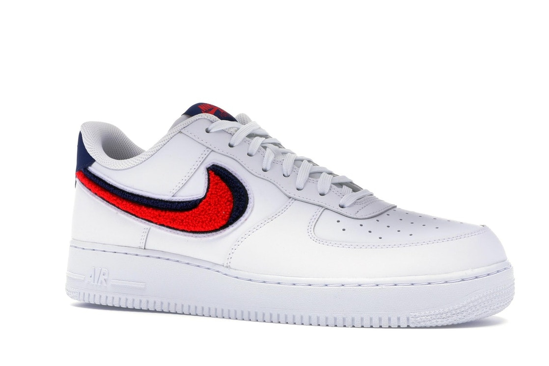 new arrival c408b 41af4 Air Force 1 Low 3D Chenille Swoosh White Red Blue - 823511-106