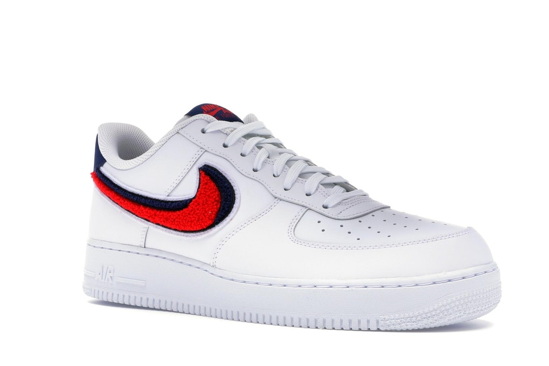 new arrival fc307 a2299 Air Force 1 Low 3D Chenille Swoosh White Red Blue - 823511-106