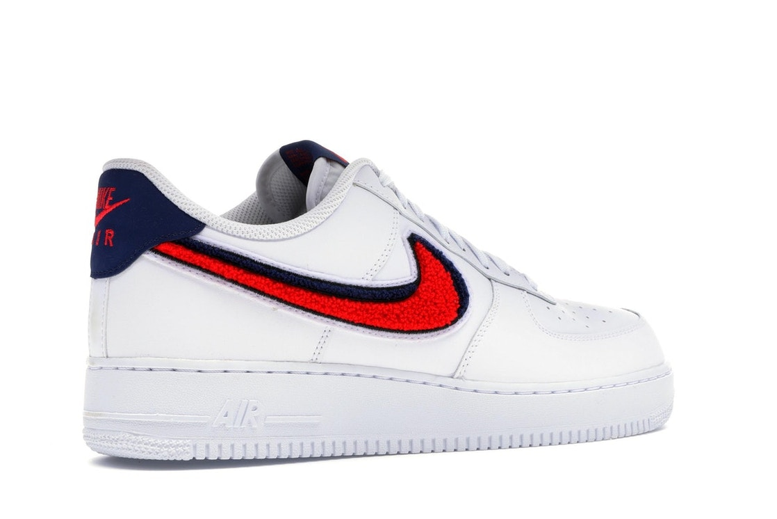 new arrival f67f9 284ba Air Force 1 Low 3D Chenille Swoosh White Red Blue - 823511-106
