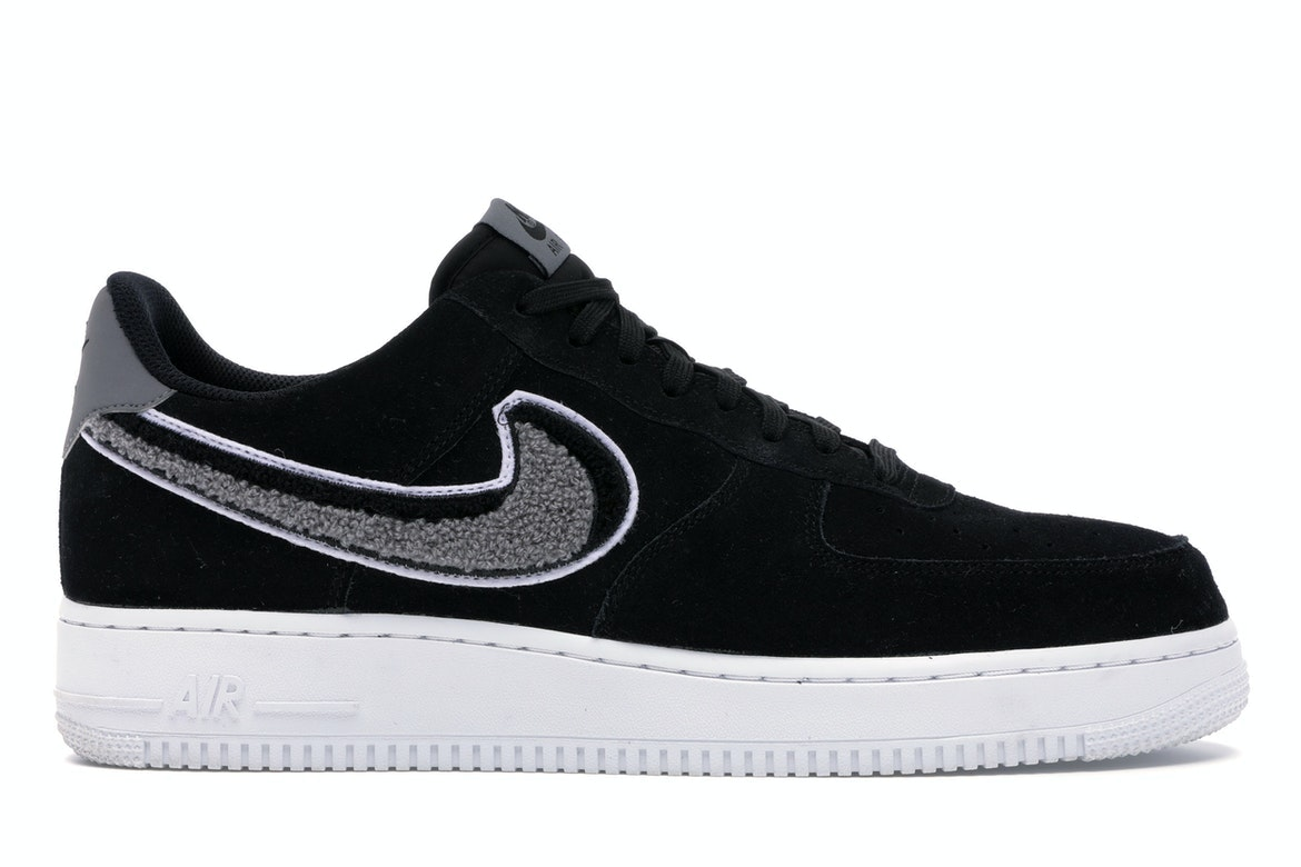 Air Force 1 Low 3D Chenille Swoosh Black Cool Grey