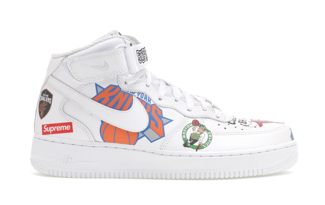 online retailer 32754 2979d Air Force 1 Mid Supreme NBA White