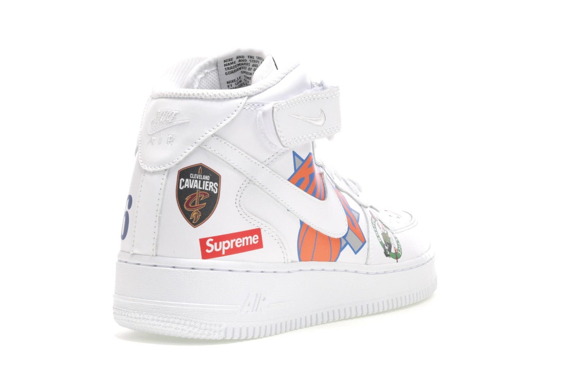 Cheap Nike Air Force 1 Mid Supreme NBA White AQ8017 100 On Sale