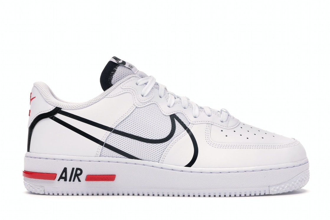 Hacia Marquesina compilar  Nike Air Force 1 React White Black Red - CD4366-100