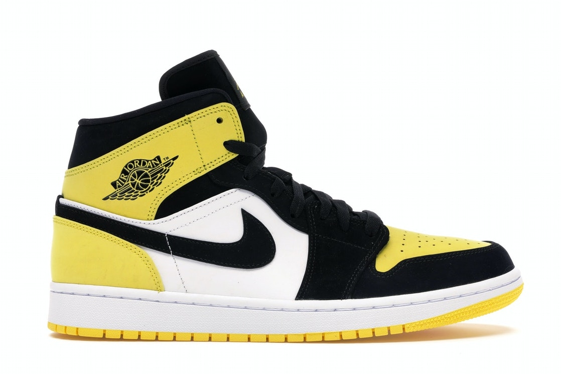 newest 33175 74e7d Air Jordan 1 Mid Yellow Toe Black
