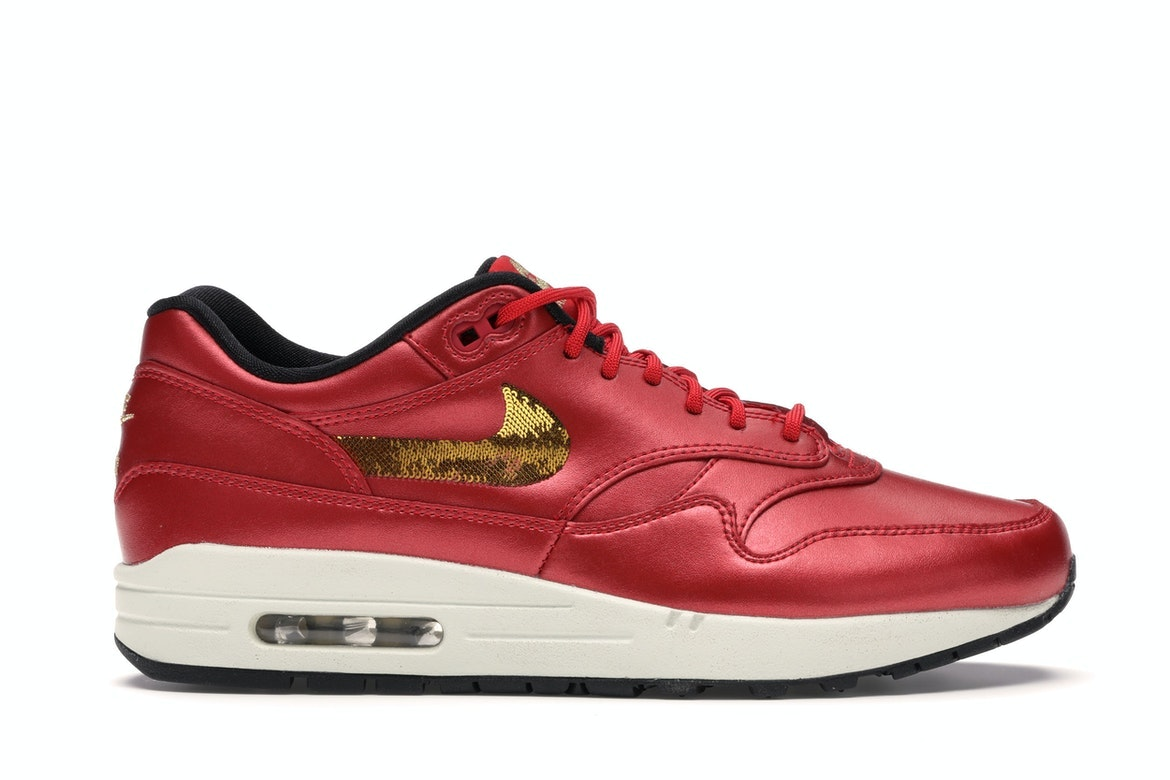 Nike Air Max 1 Red Gold Sequin (W