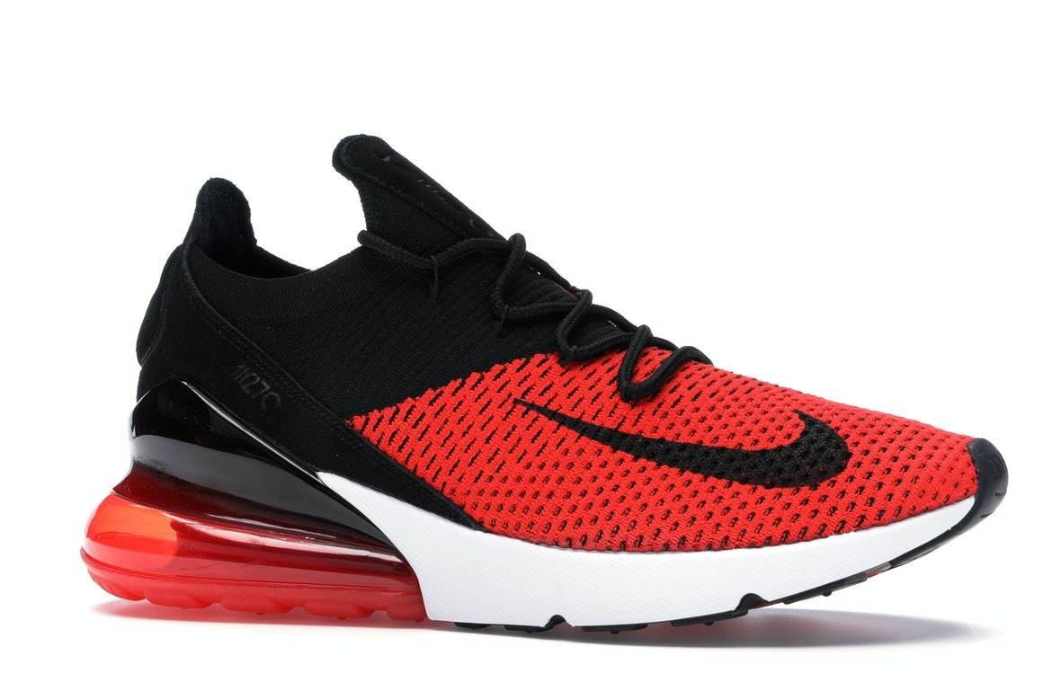 NIKE AIR MAX 270 FLYKNIT CHILI RED BLACK CHALLENGE WHITE SZ