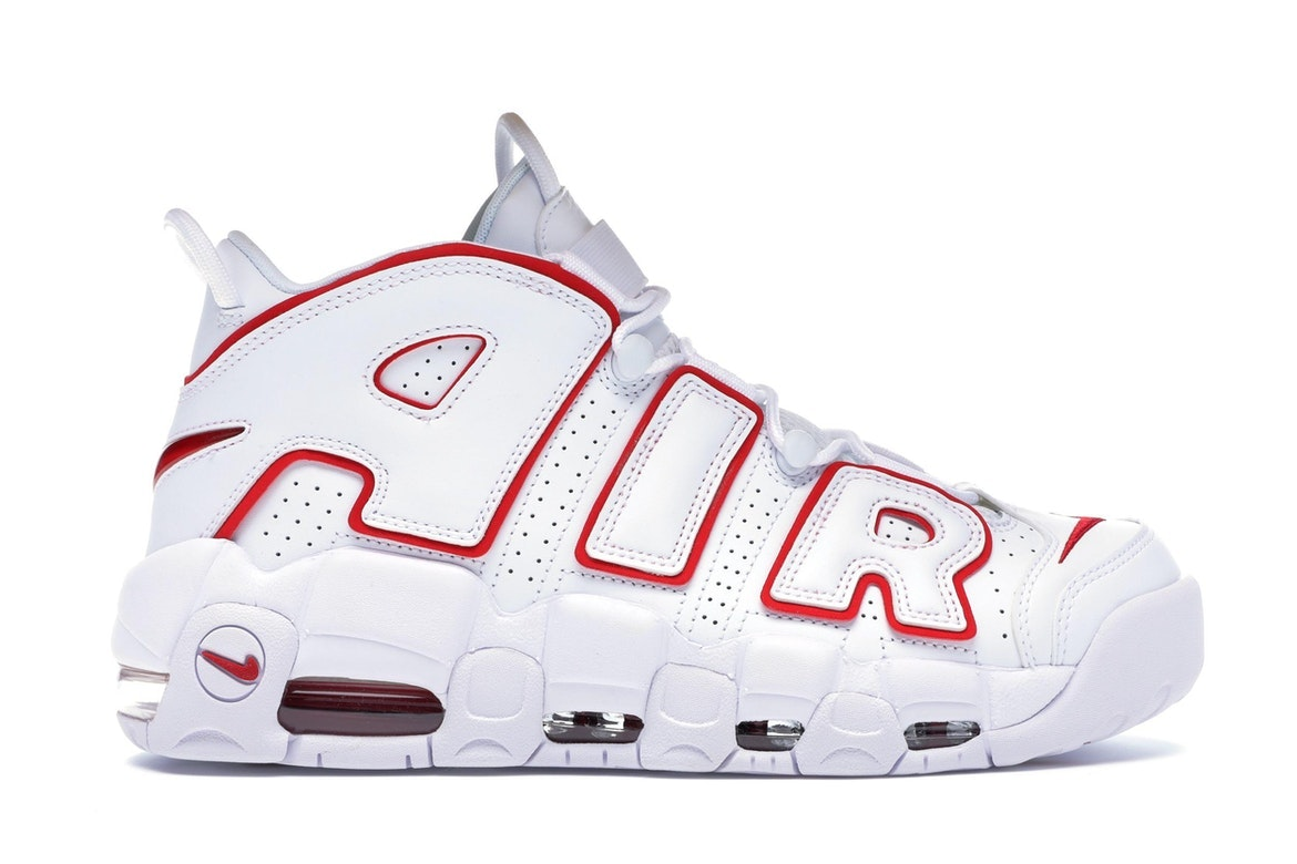 nike air more uptempo red and white