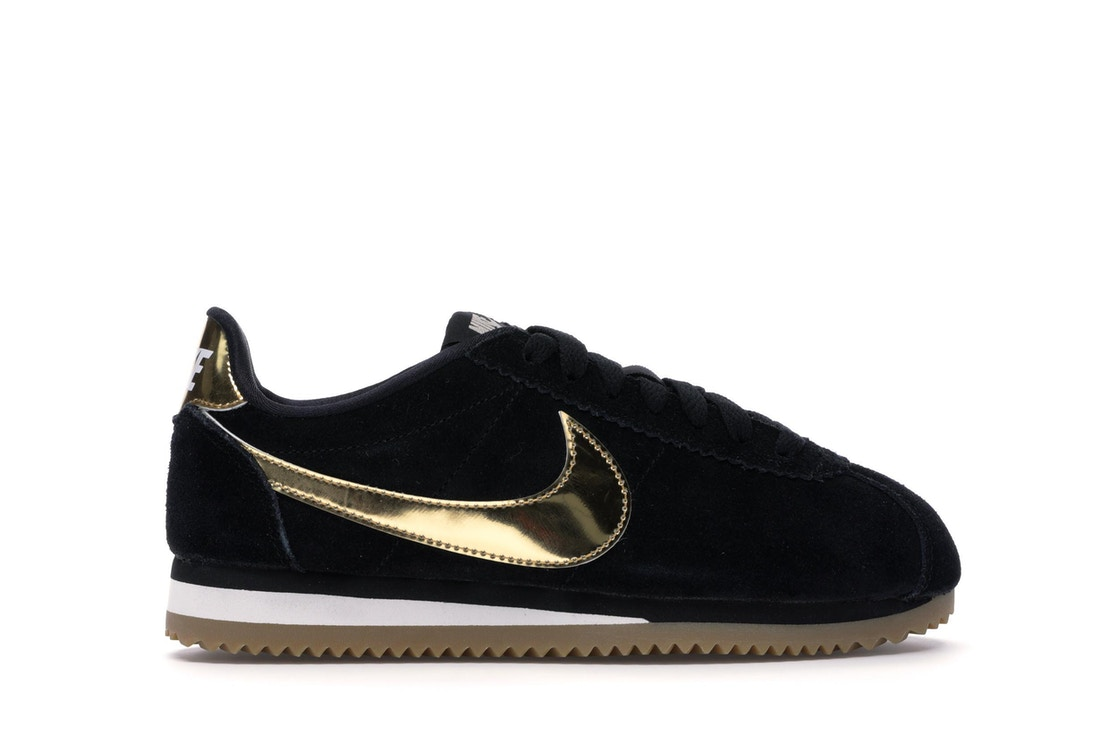 newest 174ee e855b Nike Classic Cortez Black Metallic Gold Gum (W)