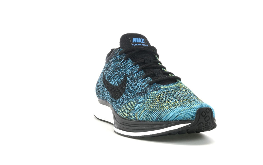 012593231258 ... Nike Flyknit Racer Blue Glow On Feet 3  Flyknit Racer Blue Glow Yellow  Strike ...