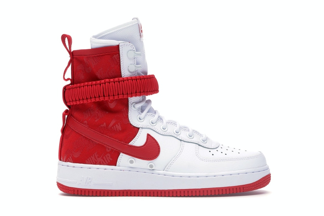 finest selection 3683c 38330 SF Air Force 1 High White University Red