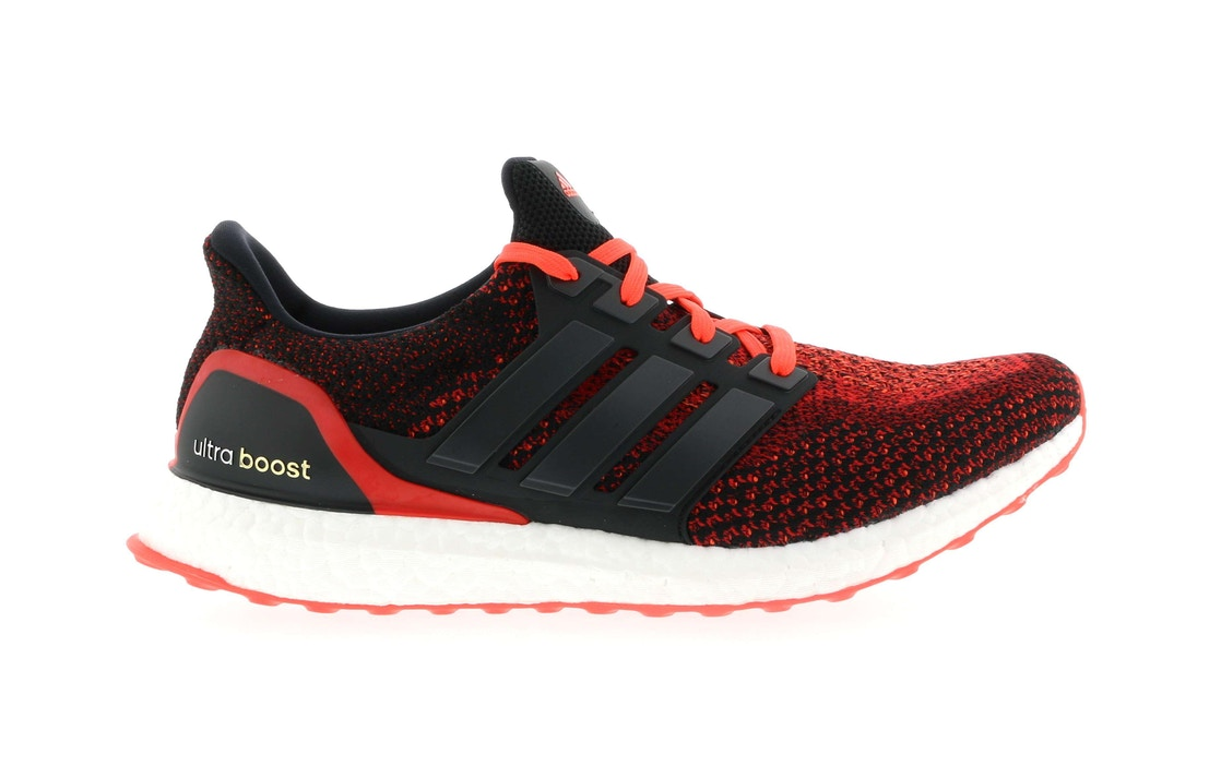 baf3646a4bc5c adidas Ultra Boost 2.0 Core Black Solar Red - AQ5930
